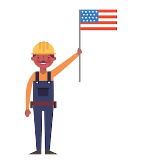 Construction man worker holding american flag labor day