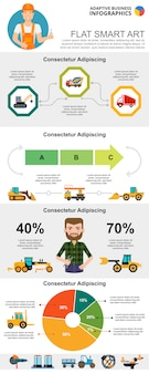 Construction and management concept infographic charts set