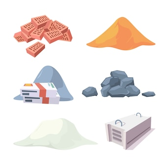 Construction material collection. equipment for builders cement sand stones pile gypsum block bricks vector pictures. illustration of pile sand to construction industry and renovation