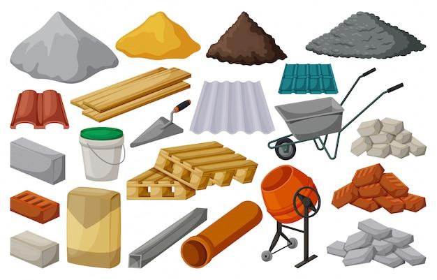 Строительный материал изолированных мультфильм установить значок. мультфильм набор иконок строительных инструментов. иллюстрация строительный материал на белом фоне.
