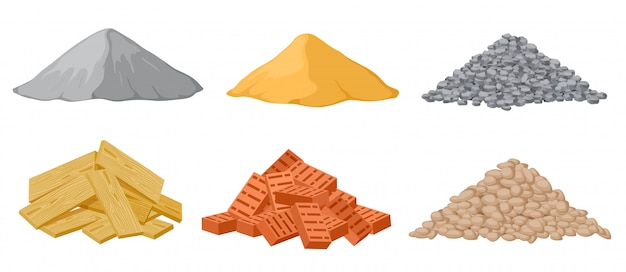 Construction material piles.