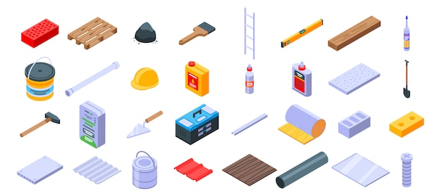 Construction materials icons set, isometric style