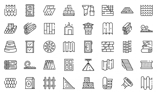 Construction materials icons set, outline style
