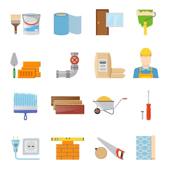 Construction materials icons set