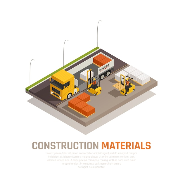 Construction materials isometric composition with building site and truck being unloaded by workers with editable text vector illustration