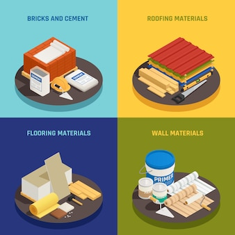 Construction materials isometric design concept with editable text and images of building supplies and hardware vector illustration