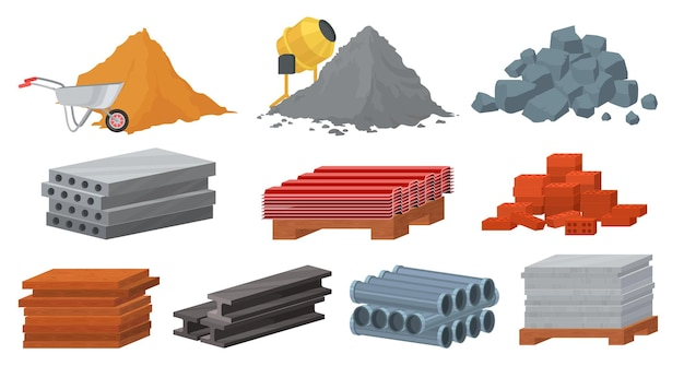 Construction materials set, flat  illustration. pile of sand cement stones bricks. gypsum blocks, metal roof, tile