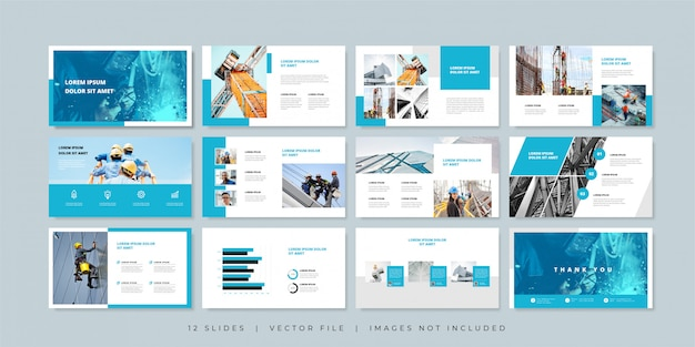 Construction minimal slides presentation template.