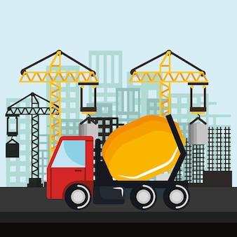 Under construction mixer truck vehicle crane city