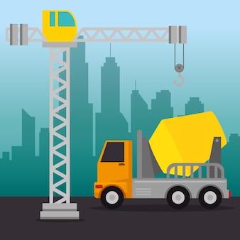 Under construction mixer truck