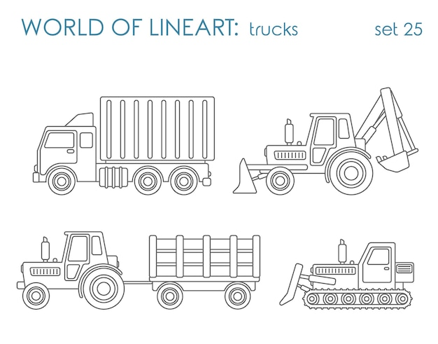 建設市営交通アル線画セット。ティッパーショベルトラクターグレーダー。ラインアートコレクション。