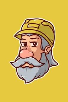 Construction old man cartoon illustration