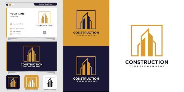 Логотип строительства и строительства и дизайн визитной карточки