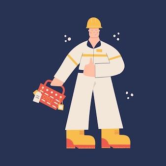 건설 또는 공장 산업 노동자 하드 모자를 쓰고