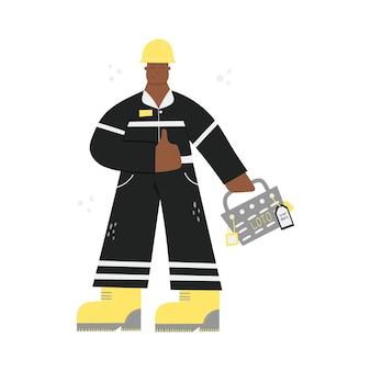 Строительный или фабричный промышленный рабочий в каске