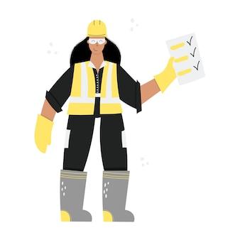 건설 또는 공장 여성 노동자 하드 모자를 쓰고