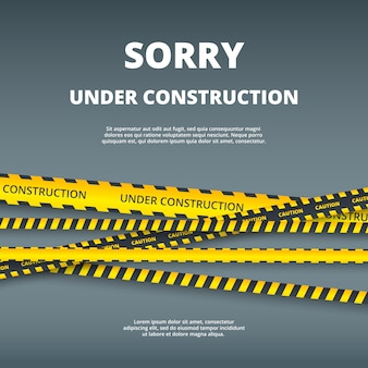 Under construction page. web site design template illustration with attention danger stripes security type vector ui template