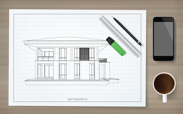 ワイヤーフレームの家のイメージと青写真の画用紙の背景。抽象的な建設グラフィックのアイデア。ベクトルイラスト。