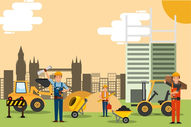 Construction people site with machinery tools building structure vector illustration