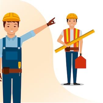 Строители люди рабочие линейка и инструментальная векторная иллюстрация