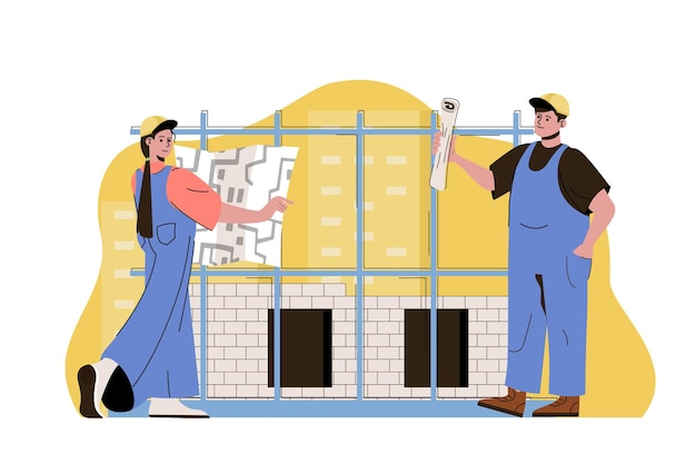 Construction plan web concept illustration with flat people character