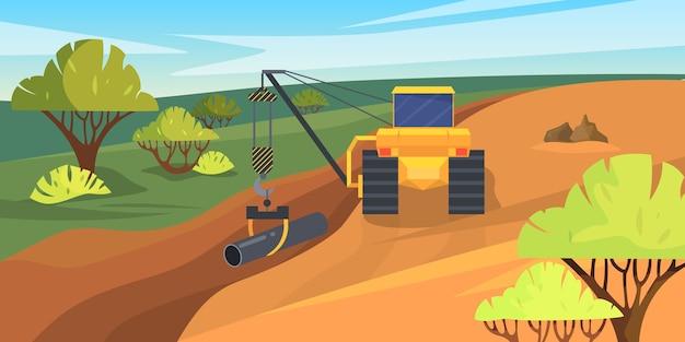 Строительный процесс, экскаватор укладывает трубы в землю.