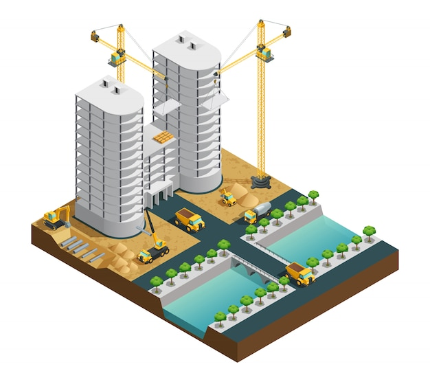 Construction process of many storeyed modern building near canal composition on white background iso