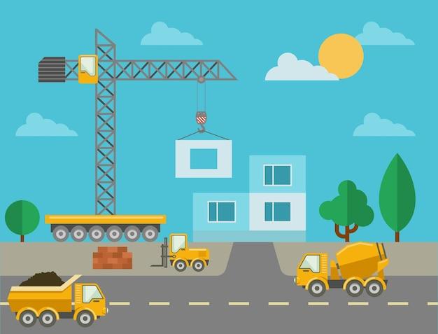 Строительный процесс со строительной техникой и возведенным зданием. строительная площадка и бетономешалка, башенный кран и грузовик. векторная иллюстрация