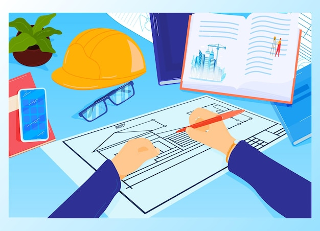 Construction project workplace at architect table  illustration.