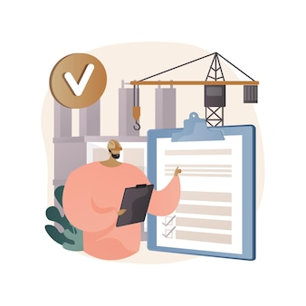 Construction quality control abstract illustration in flat style