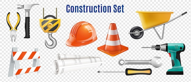 Construction realistic set of handle instrument
