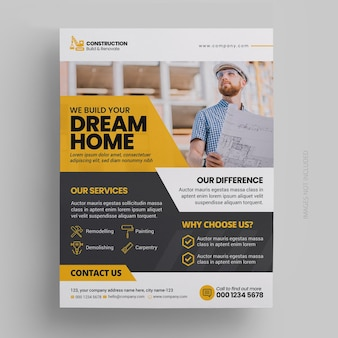 Construction and renovation flyer template