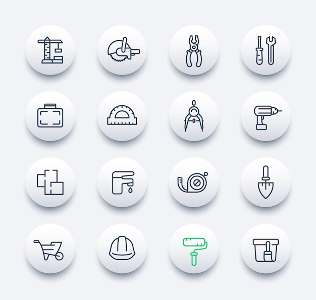 Construction and renovation icons set in linear style