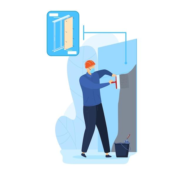 Рабочий-ремонтник на ремонте, иллюстрация. человек-строитель, штукатурка стены цементом, шпателем. штукатурные работы на профессиональном оборудовании, работы по дому.