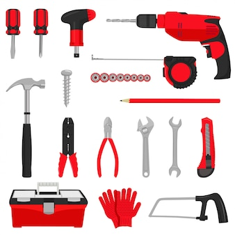 Construction repair tools icons set