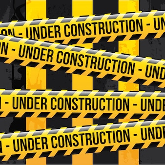 Under construction ribbons over lineal background vector illustration