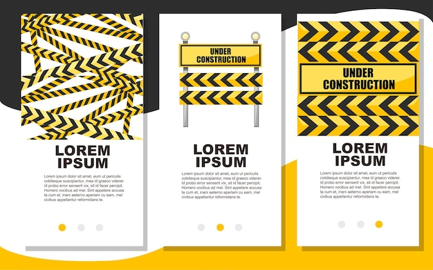 Under construction road sign road repair concept web site page and app design illustration