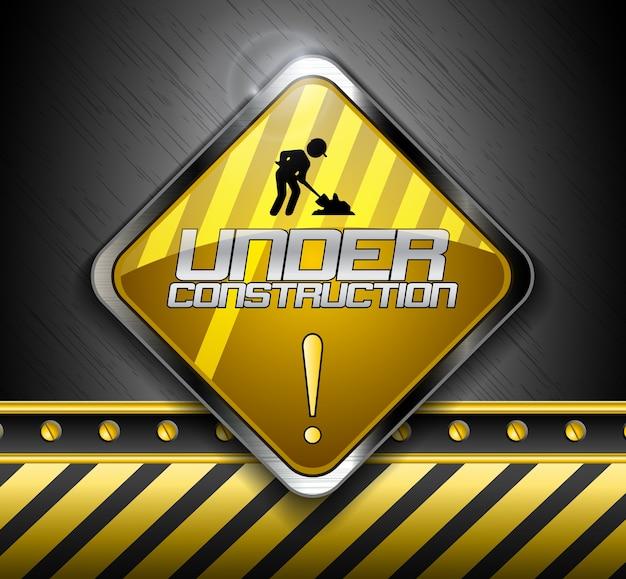 Under construction road sign Premium Vector