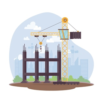 Construction scene with crane tower in workplace vector illustration design