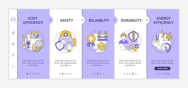 건설 보안 온 보딩 템플릿. 자원 효율성. 구조 신뢰성. 아이콘이있는 반응 형 모바일 웹 사이트. 웹 페이지 안내 단계 화면. 색상 개념