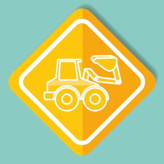 Construction sign bulldozer machinery image vector illustration