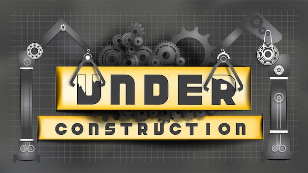 Under construction sign decorated by black gears and cogs and black cranes