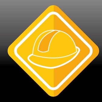 Construction sign helmet protection image vector illustration