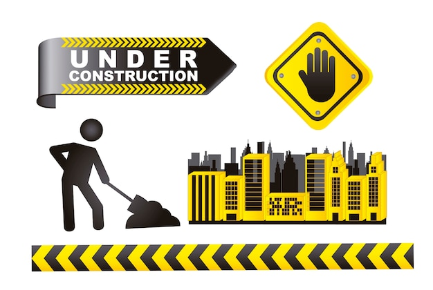 Under construction sign isolated over white background vector
