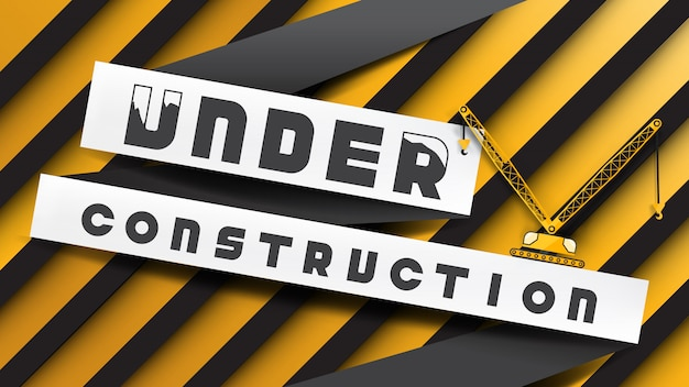 Under construction sign paper cut style on yellow black stripes