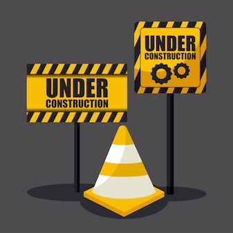 Under construction sign with cones