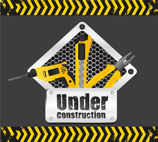 Under construction signal on black with yellow signage
