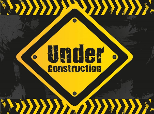 Under construction signal on grunge with grid pattern