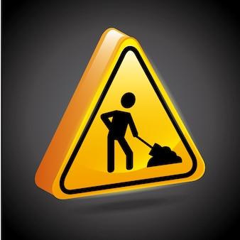 Construction signs over black background vector illustration
