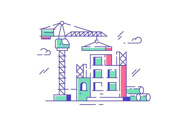 建設現場とクレーンのイラスト。新しい建物の複雑なフラットスタイルを作成します。リノベーションと不動産開発のコンセプト。孤立